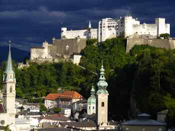 Salzburg's Hohensalzburg Fortress looms 400 feet above Austria's famous Baroque city