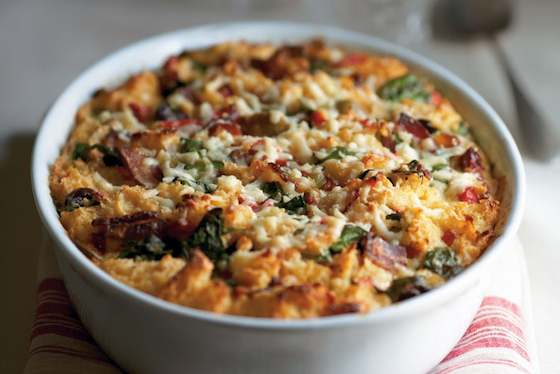 Savory Bread Pudding with Bacon, Peppers and Sun-dried Tomatoes Recipe