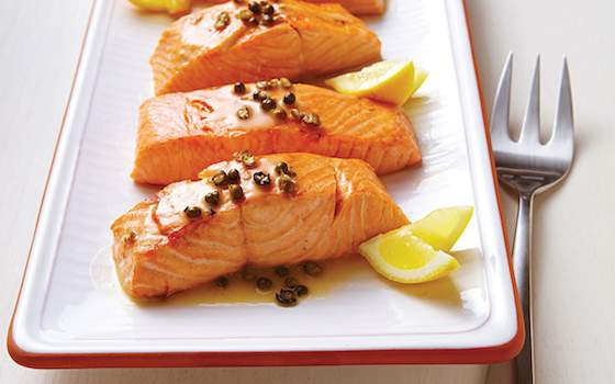 Seared Salmon with Green Peppercorn Sauce Recipe