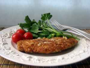 Sesame Coated Chicken Breasts with Watercress Salad