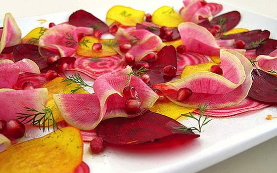 Shaved Beet and Radish Salad with Pomegranate Seeds Recipe
