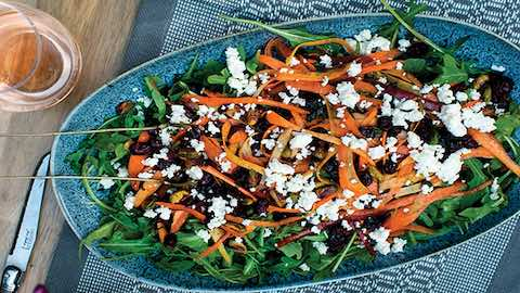 Shaved Carrot Salad with Pomegranate Harissa Dressing Recipe