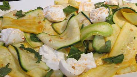 Shaved Zucchini with Burrata Cheese and Calabrian Chili Paste Recipe