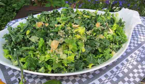 Shredded Kale and Romaine Salad with Quinoa, Currants and Almonds Recipe