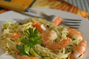 Shrimp and Leeks with Angel Hair Pasta Recipe