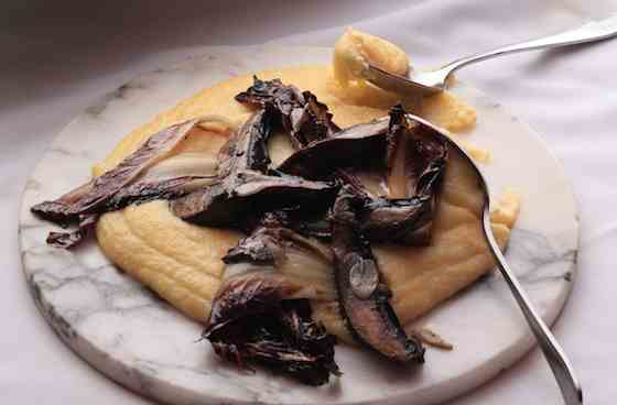 Soft Polenta with Grilled Portobellos and Treviso Recipe