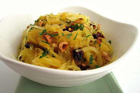 Spaghetti Squash Salad with Dried Cranberries and Hazelnuts Recipe