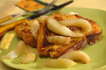 Spiced Brioche French Toast with Maple Pears Recipe Recipe