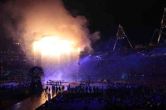 2012 Summer Olympics: Opening Ceremony - Olympic Rings rise over Olympic Stadium (Photo by: Paul Drinkwater/NBC)