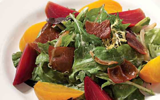 Spring Salad with Beets, Prosciutto and Creamy Onion Dressing Recipe