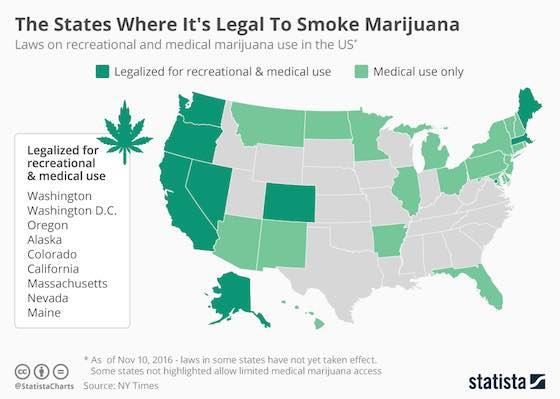 Where It's Legal To Smoke Marijuana