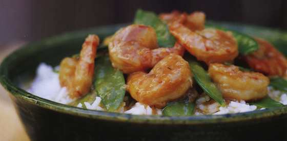 Stir-Fried Garlic Shrimp with Snow Peas