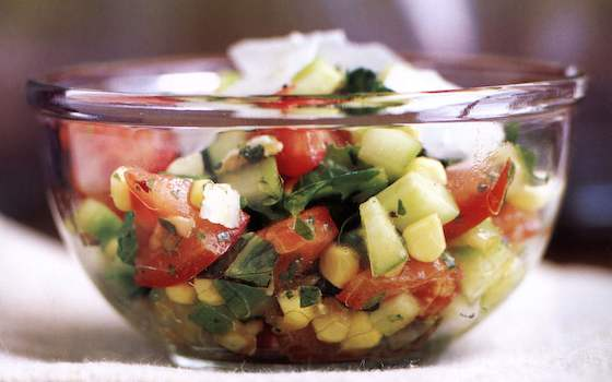 Summer Chopped Salad with Basil Vinaigrette Recipe
