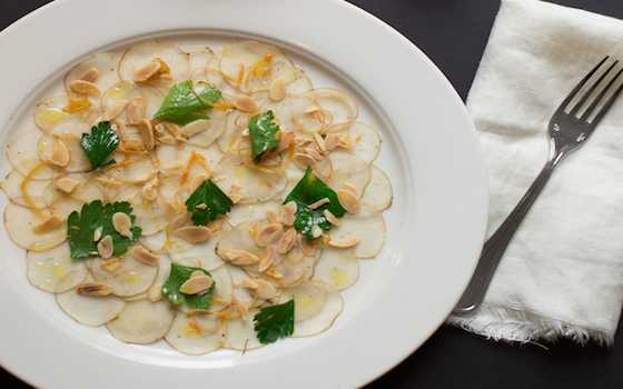 Sunchoke Carpaccio with Almonds and Grapefruit (Carpaccio di Topinambur) Recipe