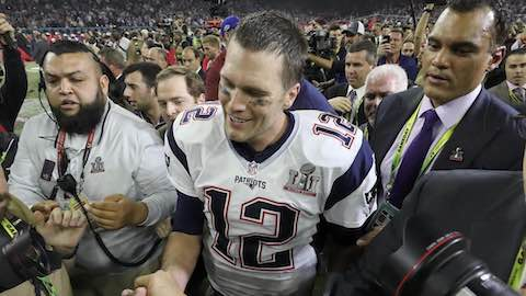 Brady Loses Shirt, But Smiling After Emotional Super Bowl Win