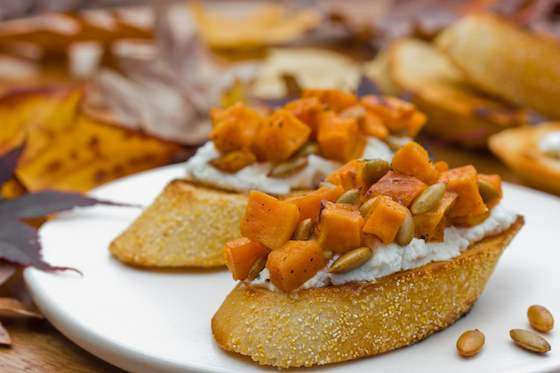 Sweet Potato and Goat Cheese Bruschetta Recipe