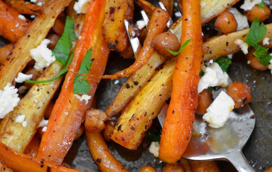 Sweet and Spicy Roasted Carrots, Parsnips and Chickpeas Recipe