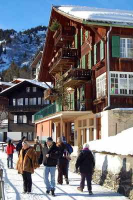 The town of Murren in Switzerland is traffic-free and filled with bakeries, cafes, and prefab-rustic chalets