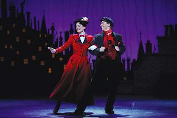 Laura Michelle Kelly as Mary and Christian Borle as Bert in Mary Poppins