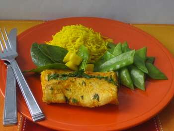 Tandoori Fish with Mango and Baby Spinach Salad Recipe