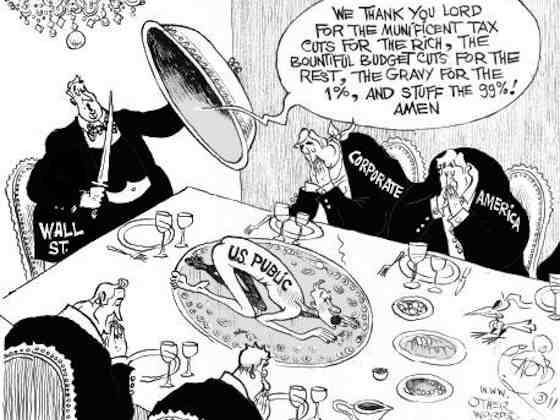 Thanksgiving on Wall Street, an OtherWords cartoon by Khalil Bendib