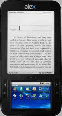 The Alex from Spring Design combines a 6-inch, black-and-white screen for reading books with a 3.5-inch color touchscreen for browsing the Web, annotating books, and playing video files. The $360 device is due later this month. It will feature books from an upcoming online shop from Borders bookstores and include 3G and Wi-Fi wireless connections