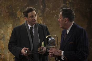 Colin Firth & Geoffrey Rush  in the movie The King's Speech