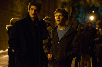 Jesse Eisenberg & Andrew Garfield  in the movie The Social Network