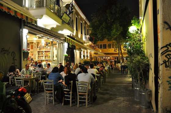 In seedy-chic Athens, you'll find slick outdoor restaurants next to Dumpsters and graffiti