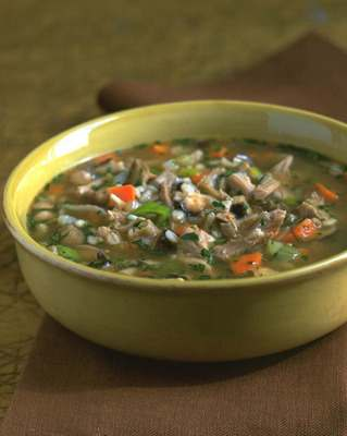 Turkey Barley Mushroom Soup  - Diane Rossen Worthington Recipes