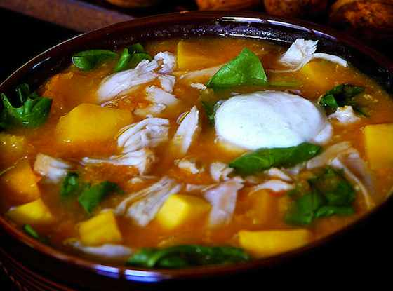 Turkey-Butternut Tortilla Soup with Zesty Lime Sour Cream