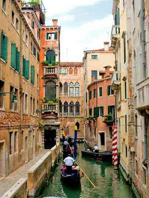 Exploring the side canals of Venice