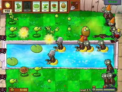 Before you know it in Plants vs. Zombies, you're deploying watermelon catapults to drive back rows of Zombonis (those are zombies on zambonis, don'tcha know?) while erecting a protective canopy of palm trees to protect your balloon-zombie-popping cacti from an overhead assault by zombies on bungee cords