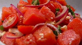 Watermelon and Tomato Salad with Red Onions, Basil and Feta Cheese ...