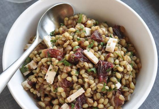 Wheat Berry Salad with Blood Oranges, Feta and Red Onion Vinaigrette Recipe