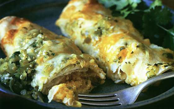Winter Squash Vegetarian Enchiladas with Tomatillo Salsa and Spicy Crema Recipe
