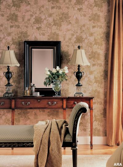 Hot Home Decorating and Color Trends - Muted hues appear both on Paris runways and on the wall, where they lend a sense of timeless glamour. Photo courtesy of York Wallcoverings.