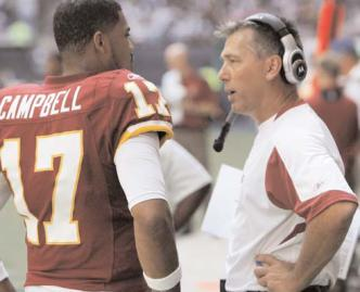 Redskins QB Jason Campbell & Head Coach Jim Zorn discussing matters on the sidelines