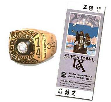 Super Bowl IX Championship Ring and Game Ticket Super Bowl IX: Pittsburgh Steelers 16 Minnesota Vikings 6 - MVP Steelers RB Franco Harris