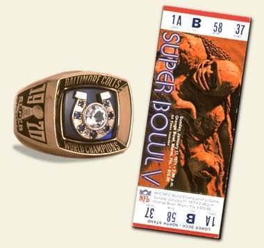 Super Bowl V Championship Ring and Game Ticket Super Bowl V: Baltimore Colts 16 Dallas Cowboys 13 - MVP Cowboys LB Chuck Howley
