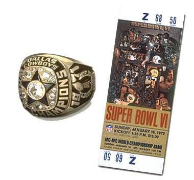 Super Bowl VI Championship Ring and Game Ticket Super Bowl VI: Dallas Cowboys 24 Miami Dolphins 3 - MVP Cowboys QB Roger Staubach