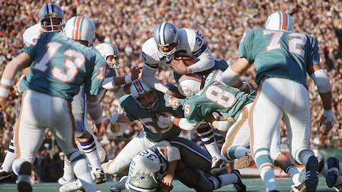 Super Bowl VI: Dallas Cowboys 24 Miami Dolphins 3 - MVP Cowboys QB Roger Staubach