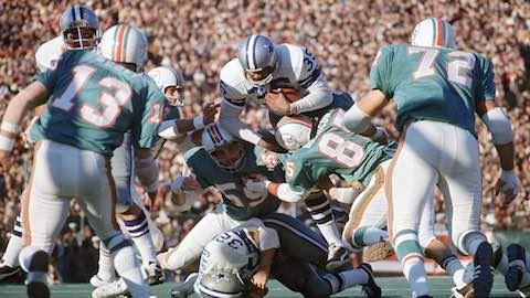 Super Bowl VI: Dallas Cowboys 24 Miami Dolphins 3 - MVP Cowboys QB Roger Staubach