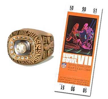 Super Bowl VII Championship Ring and Game Ticket Super Bowl VII: Miami Dolphins 14 Washington Redskins 7 - MVP Dolphins Safety Jake Scott