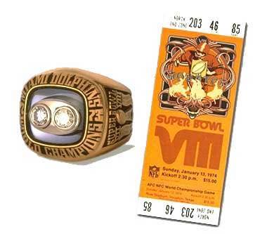 Super Bowl VIII Championship Ring and Game Ticket Super Bowl VIII: Miami Dolphins 24 Minnesota Vikings 7 - MVP Dolphins RB Larry Csonka