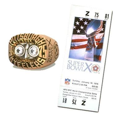 Super Bowl X Championship Ring and Game Ticket