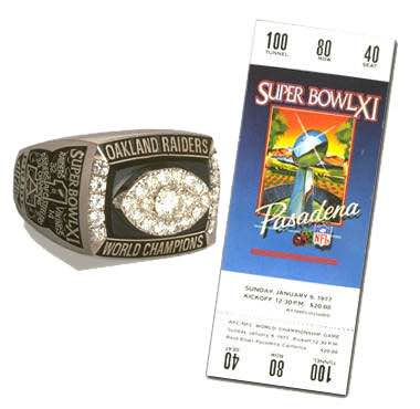 Super Bowl XI Championship Ring and Game Ticket