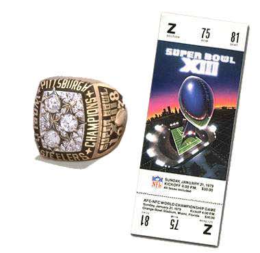 Super Bowl XIII Championship Ring and Game Ticket