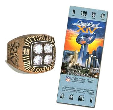 Super Bowl XIV Championship Ring and Game Ticket