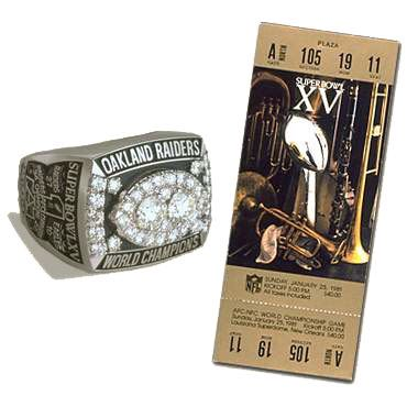 Super Bowl XV Championship Ring and Game Ticket